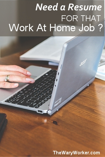Need a resume for a work at home job?