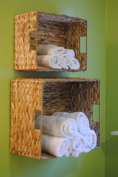 Baskets on wall for extra storage and small office organizing