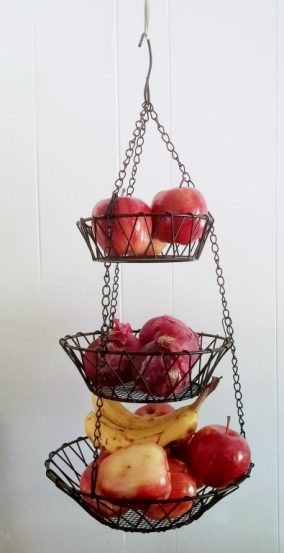 Small office organization with wire fruit baskets