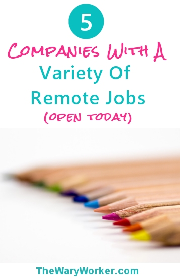 Variety of remote jobs open today, Jan 9 2017