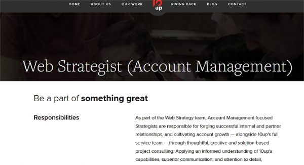10Up Web Strategist Job