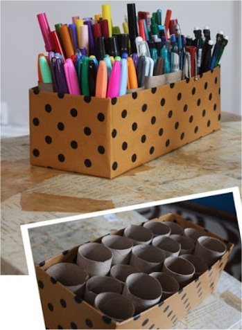 Toilet paper tube pen storage idea