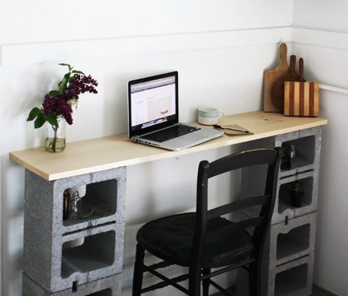 How to build a simple desk with a board and cinder blocks
