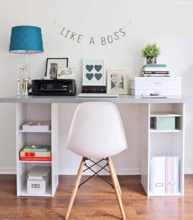 DIY open shelf desk