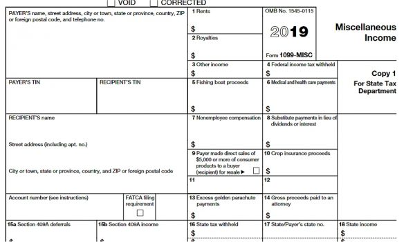 IRS form 1099-Misc for Independent Contractors