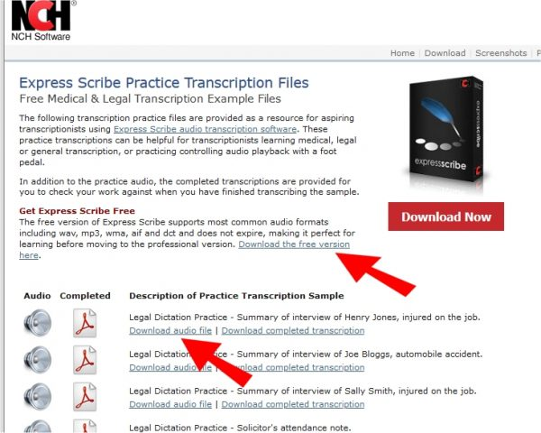 Express Scribe practice transcription files
