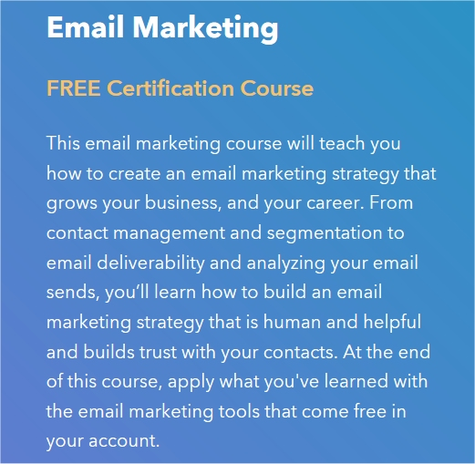 Learn Email Marketing: Hubspot Free Email Marketing Course