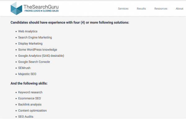 SEO Strategist Job at The Search Guru